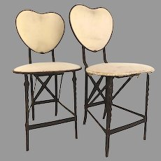 Pair of French Metal Bistro Chair with Heart Back