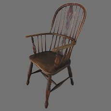 19th Century English Ash and Elm Windsor Chair H Shape Stretcher