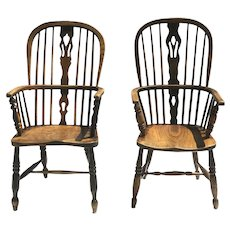 Pair of English Ash and Elm Windsor Chairs with H Shaped Stretchers Tall Back