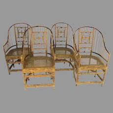 Vintage Rattan Bamboo Bentwood Arm Chairs with Cane Seat