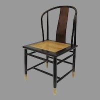 Vintage HENREDON Asian Chinoiserie Black Lacquer Cane Seat Chair Designer Davis
