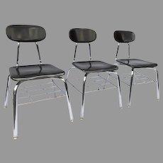Vintage Academia Hard Plastic Black Chrome Chair with Under Shelf