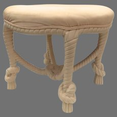 Vintage Large Round Knotted Rope and Tassel Ottoman