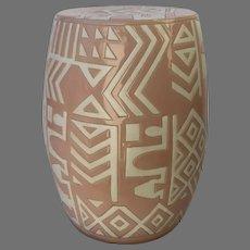 1980's Pottery Ceramic Garden Seat Pink White