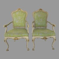 Pair of Vintage Rococo Style Painted Armchairs by Karges