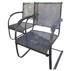 Pair Industrial Garden Bouncer Spring Chairs c 1930