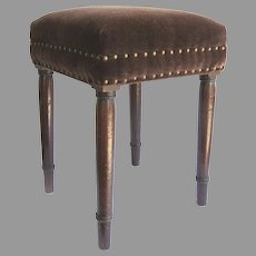 Regency mahogany Square Stool with Mohair and Brass Studs