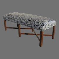 Vintage Long Bench with Modern Navy Blue Zebra Print Upholstery Chamfered Leg X Shape Stretchers