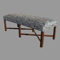 Vintage Long Bench with Modern Navy Blue Zebra Print Upholstery Chamfered Leg X Shape Stretchers