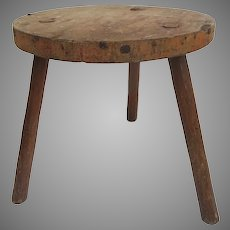 Primitive Milking Stool Old Red Paint Three Legged Country