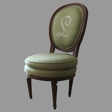 French  19th Century Green Round Double Cushioned Walnut Child's Chair