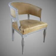 19th Century French Louis Painted Frame Old Leather Tub Chair