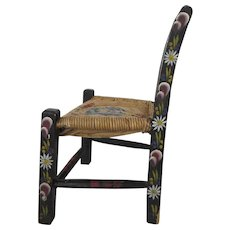 Vintage Mexican Mexico Folk Art Painted Child's Chair