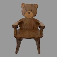 Vintage Hand Made Child's Chair Teddy Bear Very Sturdy