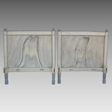 Early 19th Century Pine Twin Beds Headboards Hand-Painted Faux Finish Dowel Construction