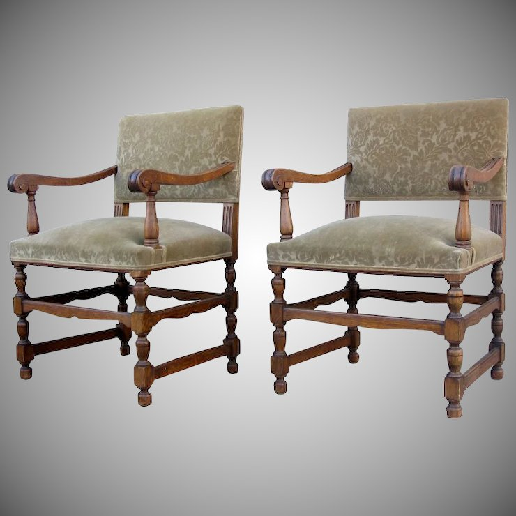 Pair Of Louis XIV Style Arm Chairs