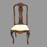 Dutch Floral Marquetry Side Chair Cabriole Legs