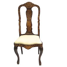 Dutch Floral Marquetry Side Chair Cabriole Legs