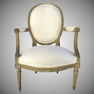 French Louis XVI Carved Armchair Circa 1780