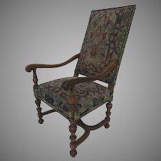 French Walnut  Style Louis XIII Armchair Tapestry