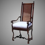 French Louis XIII Arm Chair Caned Back and Seat