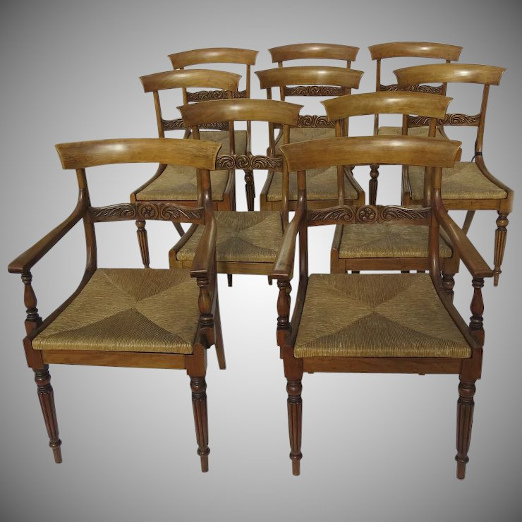 Set of Ten Antique Empire Dining Chairs - Set Of Ten Antique Empire Dining Chairs : Black Tulip Antiques, Ltd