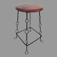 Vintage Mexican Iron and Wood Vendor's Stool Industrial Side Table