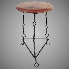 Vintage Mexican Iron and Wood Vendor's Stool Industrial