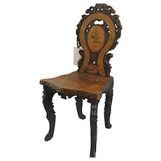 Swiss Carved Black Forest Chair Inlaid with Goat Shepherd