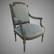 French Louis XVI Style Painted Arm Chair with Ormolu Mounts