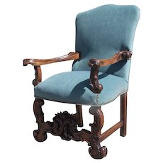 19th Century Carved Arm Chair with Wonderful Scroll Motif