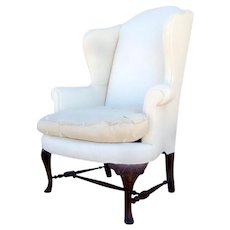 Queen Anne Style Wing Chair Cabriole Leg Pad Foot