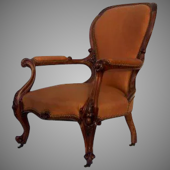 Carved Walnut Early Victorian Armchair Leather Black Tulip