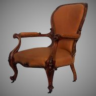 Carved Walnut Early Victorian Armchair Leather