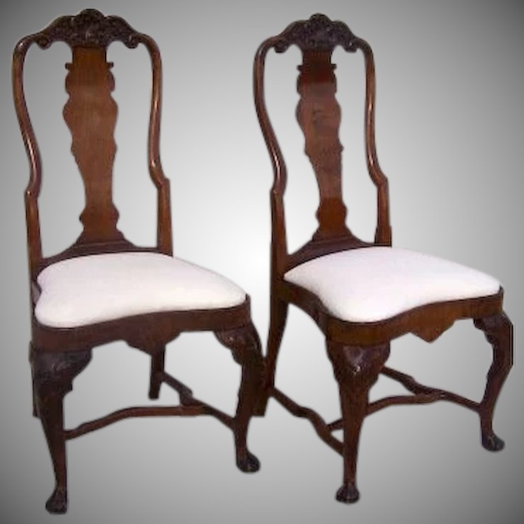 pair of english queen anne chairs 18th century black tulip