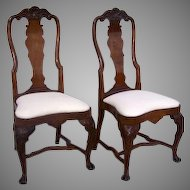 Pair of English Queen Anne Chairs 18th Century