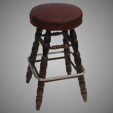 Vintage 1950's Bar Stool Leather Seat