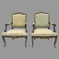 Pair 18th Century Italian Regence Régence Gilt and Painted Arm Chairs