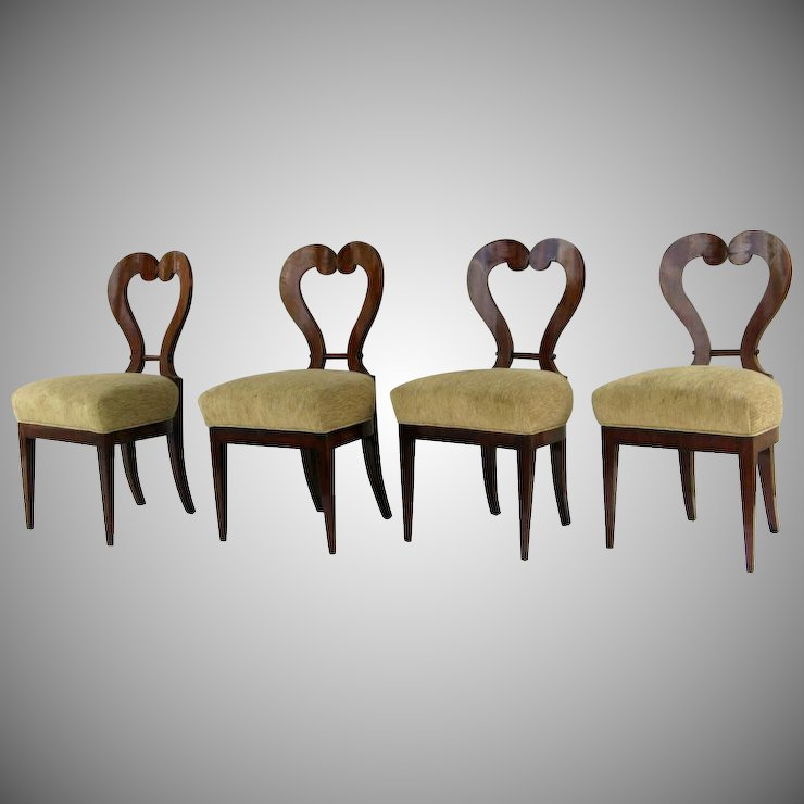Set Of Four 4 Mahogany Biedermeier Chairs Heart Shape Back