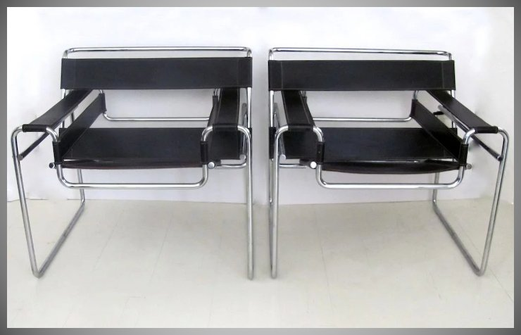 Pair Of Mid Century Wily Chrome Leather Chairs