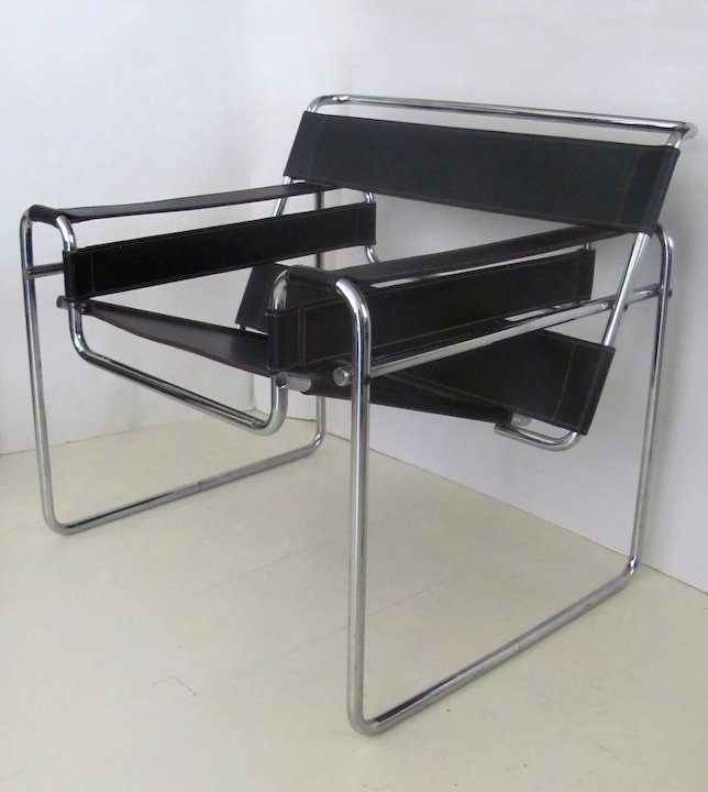 Best Pair of Mid Century Wassily Chrome Leather Chairs : Black Tulip  ET62