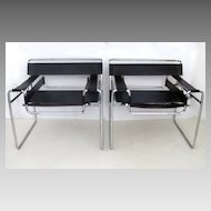 Pair of Mid Century Wassily Chrome Leather Chairs