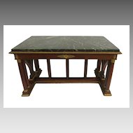 French Empire Table Desk Marble Top