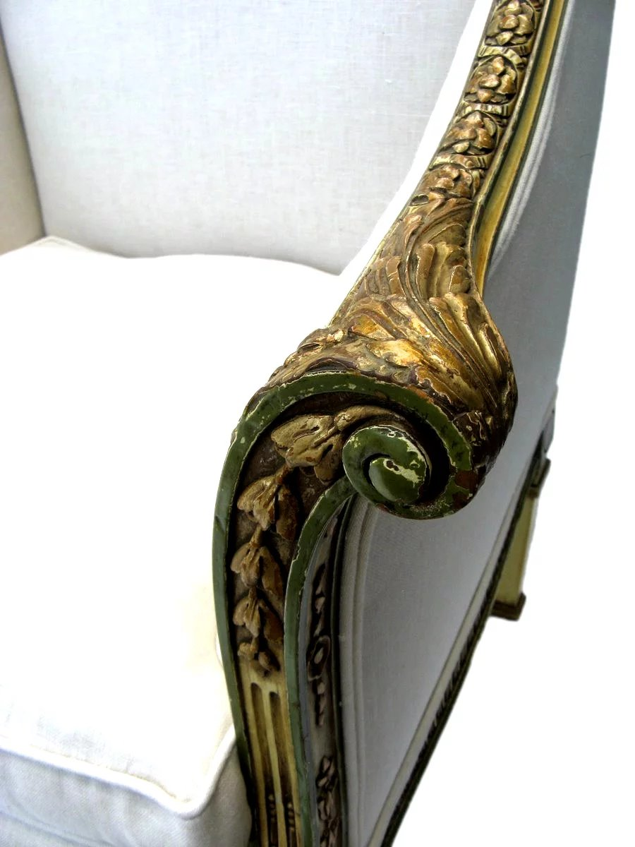 french painted gilt tub chair 19th century   black tulip
