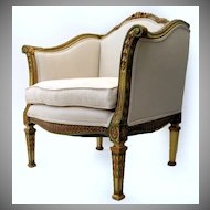 French Painted Gilt Tub Chair 19th Century