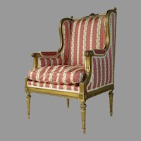 French Carved Gilt Louis XVI Bergere Chair c 1880