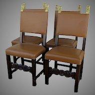Set of Six (6) Spanish or Italian Chairs Gilt Ears
