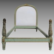 French Painted and Gilt Bed with Upholstered Headboard
