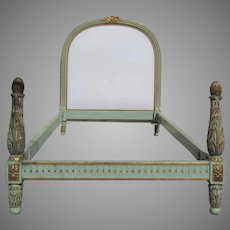 French Painted and Gilt Bed with Upholstered Headboard Twin