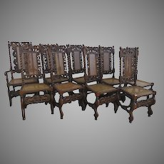 Set of 10 Jacobean Style Chairs 2 Arm 8 Side c 1890 Cherubs Putti Crown